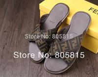 2014 Summer Beach Brand Designer Genuine Leather Slippers Shoes Sandals Flip Flops Slides For Men Black Brown