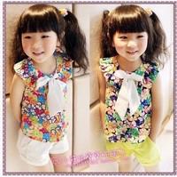 new arrival  2014 girls summer chiffon floral sleeveless two-piece suit, kids shirt+short,children's clothing set,baby outerwear
