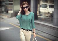 free shipping women's fashion 2014 spring and autumn women's loose casual basic half-sleeve chiffon shirt top shirt