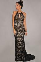 vestidos de festa vestido longo Black Lace Nude Illusion Open Back Evening Gown Luxury high street glamour and formal Vestidos