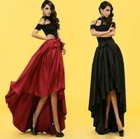 Free Shipping fashion slim waist irregular 2014 special black evening dress