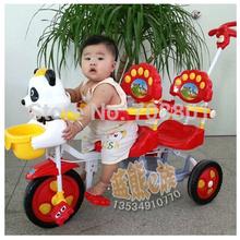 Panda Tandem Trike assento duplo cara a cara triciclo aço Fram gêmeos triciclo para 2 crianças azul ou vermelho para o bebê bom presente(China (Mainland))