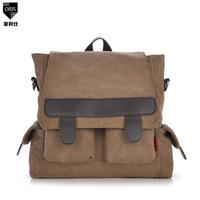 new 2014 multi-purpose canvas backpack men canvas bag backpack men schoolbag Korean diagonal shoulder bag student vintage bags