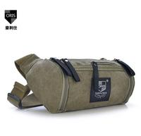 Genuine multifunction pockets canvas waist bag shoulder bag barrel chest destroyed men outdoor leisure travel purses