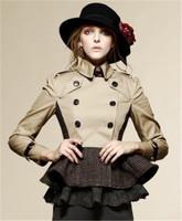 High Quality British Style Womens Falbala/ Ruffle waist design casual Fashion burbe Trench Coats for women free shipping