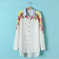 2014 New Fashion Ladies' elegant positioning flower print Chiffon long Shirt turn down collar long sleeve casual Top st792