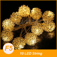Battery Operated 10 LED String Fairy Light Party Garden Xmas Warm White