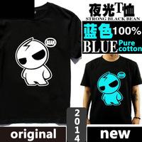 New 2014 summer Blue luminous men t shirt print super iron man glow in the dark neon lover shirts short-sleeve cotton cartoon