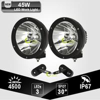 CREE 45W Spot Beam LED Work Light Offroad Round Driving Lamp Headlight + Windshield Spotlight Mount Brackets for Jeep Wrangler