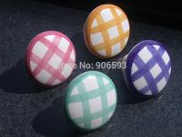 24pcs lot free shipping Porcelain checkerwork pattern round cabinet knob\cabinet handle\drawer knob