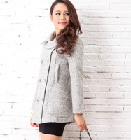 2013 Plus Size Double Breasted Fashion Fall Women Brand Clothing Hot Sale Camel Wide Oblique Wool-blend Trench Woolen Coat DA668