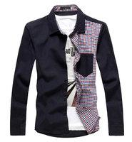 2014 New Arrive Plaid Patchwork Men's Long Sleeve Shirt Contrast Collar Slim Fit Casual Man Shirt Outwear