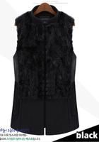 2014 Spring Autumn Winter  L - 6XL Plus Size Real Rabbit Fur Women Vest, Black Gilet Wool Waistcoat Jacket,DA670