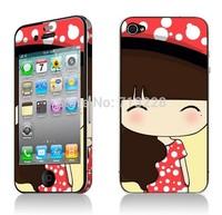 2pcs Free shipping big face girl  kawaii cute cartoon DIY decoration crystal luminated sticker+protector for iphone 4 4s