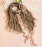 2014 New Women's Fashion Lace Wool Chiffon Stitching Scarf Female Long Pearls Knit Shawl Wrap Girls Nice Wild Cashmere Scarves