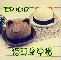 Vivione spo cat ears strawhat straw braid hat women's hat