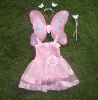 FREE SHIPPING Butterfly wings paillette flower princess dress piece set costume
