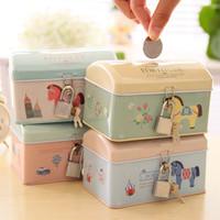 Free shipping Kawaii Cartoon tin piggy bank metal chalybeate lockable money box with a lock tinplate coin bank iron gift box