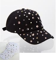 fashion snapbacks caps Hot sale rhinestone spike studs black white hip hop snapback hats for women new brand female baseball cap