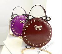 2014 new  women's handbag rivet chain bag rabbit ear bow small bag handbag messenger bag  free shipping