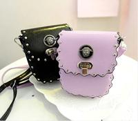 2014 new  women's spring handbag mini bag candy color rivet laciness mobile phone waist pack one shoulder cross-body bag small