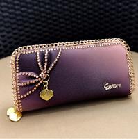 2014 new  women's handbag fashion gradient color double zipper bow diamond long design day clutch coin purse  free shipping