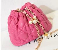 2014 new  plaid bucket bag casual shoulder bag vintage  pearl chain bag small women's handbag