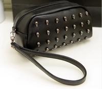 2014 new  women's handbag rivet skull women's bags day clutch shoulder bag mobile phone bag small bag coin purse  free shipping