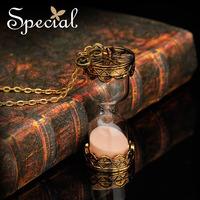 Special Design Sandy Clock Pendant Necklaces Free Shipping Bronze Long Necklaces XL13A08311