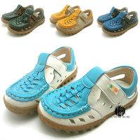 2015 Summer children sandals male child genuine leather sandals boys cutout shoes cowhide cow muscle soft outsole mesh shoes
