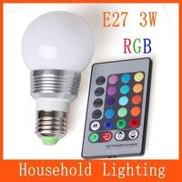 AC 85-265V RGB 3W E27 led 16 Color Bulb Lamp with Remote Control LED lighting multiple colour a set 81620