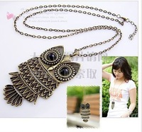Korean jewelry retro Owl Necklace long paragraph sweater chain,Free Shipping!#1184