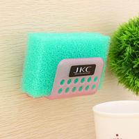 Free shipping bathroom kitchen sink water suction cup soap shelf sponge holder plastic storage rack dishclout wash cloth rack