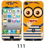 2pcs Free shipping serious yellow man usa kawaii cartoon cute DIY decoration crystal sticker+protector for iphone 4 4s