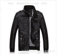 FREE SHIPPING 2014 new promotion men's PU leather jacket coat/fashion male overcoat 120