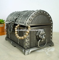 Pirates of the Caribbean Treasure Chest with Lock Large Double Layer Jewelry Box Antique Metal Carring Case Wedding Gift