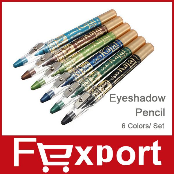 New 2014 Brand Makeup M.n Eye Shadow Pencil with sharpener 6 Colors / Set Eyeliner Make Up Eyeshadow Cosmetics Pen Eyes, 1404(China (Mainland))