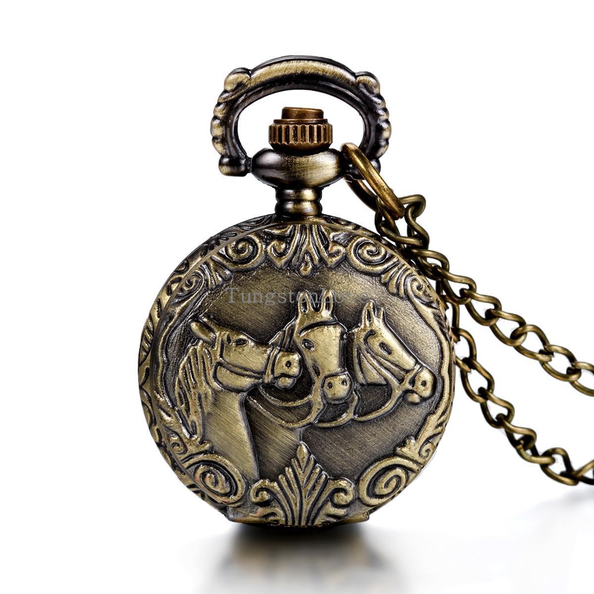 Antique Style Horses Locket Pocket Watch Quartz White Dial Arabic Numerals Full Hunter Vintage Design 80cm Chain(China (Mainland))
