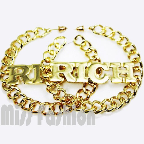 Free Shipping Hip Hop Gold Heavy Metal Big Rich Simple Chain Hoop Fashion Earrings , Hoop Statement Earrings(China (Mainland))