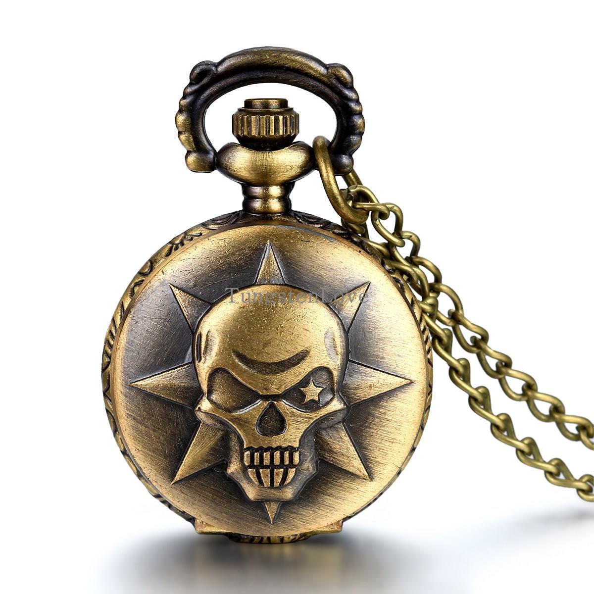 "Vintage Style Covered Pocket Watch Pendant with Anime Cross Fire Kito Design skull Clock Necklace 31"" Chain Gift(China (Mainland))"