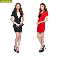 2014 New Fashion Women Outerwear Slim Red/black Female Blazer Suit Jacket Coat Women's Work Wear