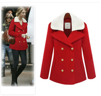 Autumn and spring wool coat 2014 women's slim medium-long blend wool collar double breasted coat outerwear free sipping