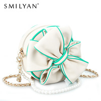 Smilyan unique swwet bow PU leather women handbag fashion ladies circle shaping messenger bag pearl chain small round women bags