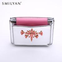 Smilyan 2014 new ladies gentlewomen ruby rhinestone bag elegant rhinestone day clutch fashion women messenger bag eveing bags