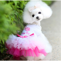 New! Pet Dog Wedding dress ,Pet clothing,Dog Cat clothes summer ,Pet products Pink Blue Free Shipping