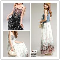 2014 White/Black Summer Bohemia Full Dress Chiffon Bohemia Long Dress with Bohemian Floral Dress women's maxi dress