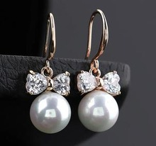 Q1603 Harmonie upscale perfect circle pearl bow earrings / earring wholesale B8