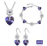 Free shipping 2014 new fashion wholesale noble heart crystal pendant drop earring royal necklace love bracelet jewelry set women