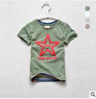 Free Shipping 1PC/Lot  Summer  T- Shirt Short Sleeve Cotton T-shirt  Boys Five Star Children T shirts Girls Cute Cartoon Gift