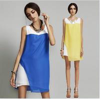 2015 fashion women Brief casual dress ,patchwork contrast color chiffon office dress, plus size women clothing S-4XL vestidos